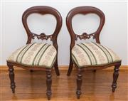 Sale 8338A - Lot 99 - A set of 8 of Victorian style mahogany balloon back chairs with Regency stripe upholstery