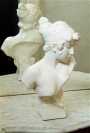 Sale 8418A - Lot 24 - A white glazed porcelain Edwardian bust of a lady, H 40cm