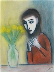 Sale 8538 - Lot 549 - Robert Dickerson (1924 - 2015) - Girl with Flowers 74.5 x 55.5cm