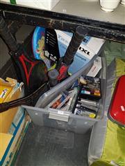 Sale 8582 - Lot 2286 - Sundries incl. Tennis Rackets, DVDs, Computer Games, IXL Plastic Light, Kick Board, etc
