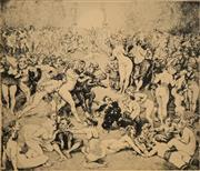 Sale 8666A - Lot 5043 - Norman Lindsay (1879 - 1969) - Argument 21 x 23.5cm (frame: 45.5 x 55.5cm)