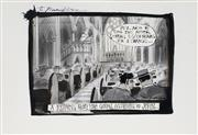 Sale 8883A - Lot 5020 - Bill Leak (1956 - 2017) - The Bleak Picture: John Howard - A reading from the Gospel according to John 26 x37 cm