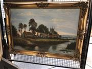 Sale 8816 - Lot 2011 - S.Christen - European Country Scene with Cottages and Church, oil, frame size: 76 x 106cm, signed lower left