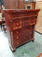 Sale 8848 - Lot 1086 - Late 19th Century Cedar Chest of Drawers, with an arrangement of, two short, two deep and three further long drawers, flanked by tur...