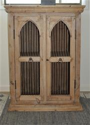 Sale 8858H - Lot 12 - Small Occassional Timber Cabinet with Cathedral Style Doors with Metal Rods, H 90 x W 66 x D 41 cm -