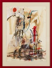 Sale 9023H - Lot 62 - ANN THOMSON b.1933 Synergy II 1992 abstract with figure oilstick, gouache and collage on paper SLL dated 2012 50x36cm (frame size...