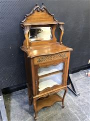 Sale 9048 - Lot 1025 - Edwardian Fruitwood Music Cabinet, with carved mirror back & shelf, above a drawer & glass panel door, raised on cabriole legs  (H:...