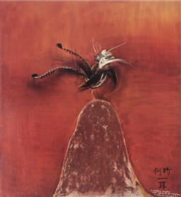 Sale 9081A - Lot 5081 - Brett Whiteley (1939 - 1992) - Lyrebird 59 x 54 cm (frame: 88 x 83 x 3 cm )