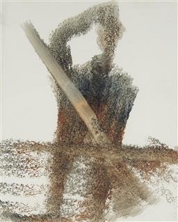 Sale 9161A - Lot 5030 - SIDNEY NOLAN (1919 - 1992) - Ned Kelly with Rifle 30.5 x 25.5 cm (frame: 61 x 55 x 4 cm)