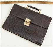 Sale 9081H - Lot 95 - A Vintage 1970s Alligator skin briefcase handmade in Geneva, with gold numerical lock, 40cm x 28cm