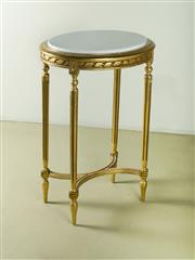 Sale 9087H - Lot 73 - Antique French c 1920 giltwood and marble top parlour table 83T x 54 x 45