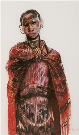Sale 9096 - Lot 567 - Margaret Woodward (1938 - ) Young Massai Girl, 1993 mixed media on paper 88 x 53 cm (frame: 108 x 71 x 3 cm) signed and dated lower ...