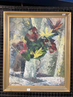 Sale 9113 - Lot 2003 - K Jenkins - Floral Still Life, 1964 oil on board, 63 x 53cm, signed