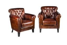 Sale 9123J - Lot 75 - A pair of Art Deco style cigar leather club chairs --96 T x 85 W x 75 D