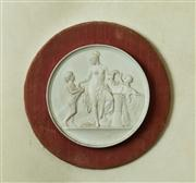 Sale 8418A - Lot 25 - A Wedgwood style disc depicting mother and children in classical pose on velvet backing, disc size D14cm