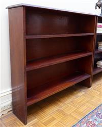 Sale 8735 - Lot 75 - A pair of timber three tier bookshelves, H 97cm, W 94cm, D  26cm