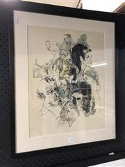 Sale 8789 - Lot 2170 - Barry Donahu - Study of people of the town, ink and watercolour, 60 x 50cm, signed lower centre