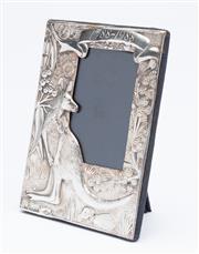 Sale 8873A - Lot 8 - An Australian themed Britannia standard silver photo frame for the Bicentennial, featuring kangaroo, gum leaves and flowers, maker R...