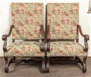 Sale 8871H - Lot 157 - A pair of antique French Henri II dark walnut high back armchairs C: 1880. The carved scrolling arms on carved S shaped rests ab...