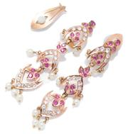 Sale 8991 - Lot 330 - A PAIR OF GOLD STONE SET EARRINGS; 14ct articulated drops set with synthetic rubies and white sapphires to seed pearl drops (1 missi...