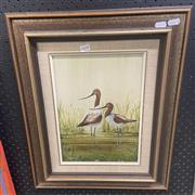 Sale 9011 - Lot 2098 - Clary Cox, The Avocets Retreat, oil on board, 55 x 46cm, signed lower left