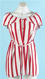 Sale 9090F - Lot 12 - A HOUSE OF HARLOW CAP SLEEVED MINI DRESS; in cadystripe white and red feturing a tie belt and button up front, size XS