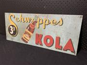Sale 9092 - Lot 1009 - Vintage hand painted Schweppes Kola advertising sign on tin (h:30 x w:74cm)