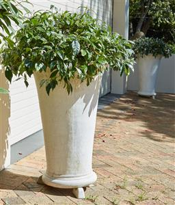 Sale 9097H - Lot 2 - A pair of composite tapering cylindrical pots, Height 80cm.