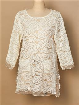 Sale 9093F - Lot 102 - A Valentino silk cream lace top, size M