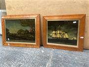 Sale 9091 - Lot 2098 - 2 Paintings on Glass, Ship Scene & a Hunt Scene, from Britannan Studios, London