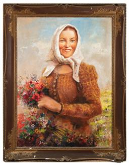 Sale 9190H - Lot 11 - Ludolfs Liberts, Latvian/American, 1895-1959 Peasant woman with flowers Oil on canvas Signed L. Liberts (lower right) 128cm...