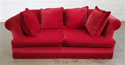 Sale 9191 - Lot 1003 - Red suede oversized 2 seater lounge (h:72 x w:210 x d:75cm)