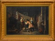Sale 8358 - Lot 583 - Johann Hermann Kretzschmer (1811 - 1890) - The Blacksmiths Workshop 55 x 80cm