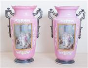 Sale 8430 - Lot 15 - A pair of C19th French porcelain pink mantel vases possibly depicting a procession of Louis XVI. Height 39cm.