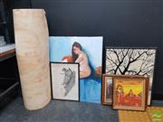 Sale 8552 - Lot 2098 - Collection of Artworks incl Paintings, Rubbings, Embroideries etc