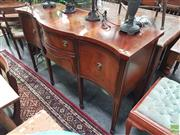 Sale 8601 - Lot 1028 - Georgian Style Mahogany Serpentine Sideboard by Burton UK (H:93 W:150 D:56cm)