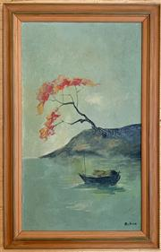 Sale 8510A - Lot 37 - Kihor? Boat in the harbour, oil on board 49cm x 28cm together with a Japanese woodblock print by Yuhon Ito