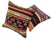 Sale 8725C - Lot 5 - A Pair of Vintage Turkish Kilim Cushions, Wool, 50x50cm, RRP $350