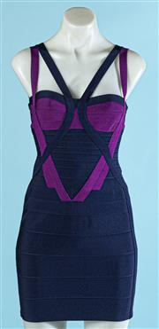 Sale 9090F - Lot 76 - A HERVE LEDGER BODYCON SPAGHETTI STRAP DRESS, featuring purple and navy panels, size M