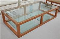 Sale 9090H - Lot 12 - A contemporary glass top coffee table with two removable large shelves height 39cm x Width 150cm x Depth 80cm