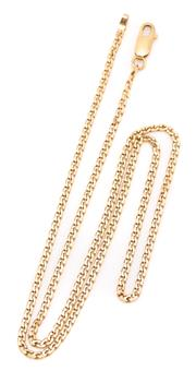 Sale 9095 - Lot 347 - AN 18CT GOLD STUD CURB CHAIN; attached with a parrot clasp, length 46cm, wt. 6.55g.