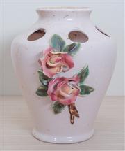 Sale 8430 - Lot 18 - A Pates Sydney pottery flower arranging vase (chip to rose). Height 27cm.
