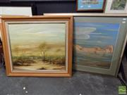 Sale 8407T - Lot 2070 - Artist Unknown (Wildauer) - Outback Countryscape, oil on board, 60 x 70cm, signed lower right & Artist Unknown - Nude, pastel, f...