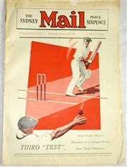 Sale 8460C - Lot 62 - The Sydney Mail front cover plus 3 page story Wednesday January 18, 1933 (Bodyline). Very good.