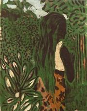 Sale 8656 - Lot 516 - Ray Crooke (1922 - 2015) - Girl in Garden 45 x 35cm