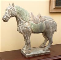 Sale 8735 - Lot 77 - A plaster model of a Tang style horse with peeling painted finish, H x 34cm, W x 41cm