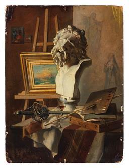 Sale 9245J - Lot 61 - In the Manner of Francois Bonvin, French (1817-1887) - Artists Studio Still Life