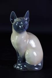 Sale 8968 - Lot 11 - Royal Copenhagen figure of a Siamese cat (H19cm)