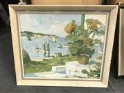 Sale 9045 - Lot 2053 - Cyril Young, Cottage by the Lake, 1964, watercolour, frame: 40 x 47 cm, signed lower left, together with a Paddington street scene...