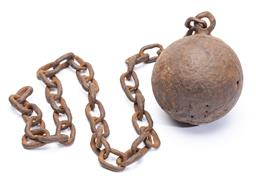 Sale 9130E - Lot 25 - A colonial convict cast iron ball on chain Diameter of ball 13.5cm